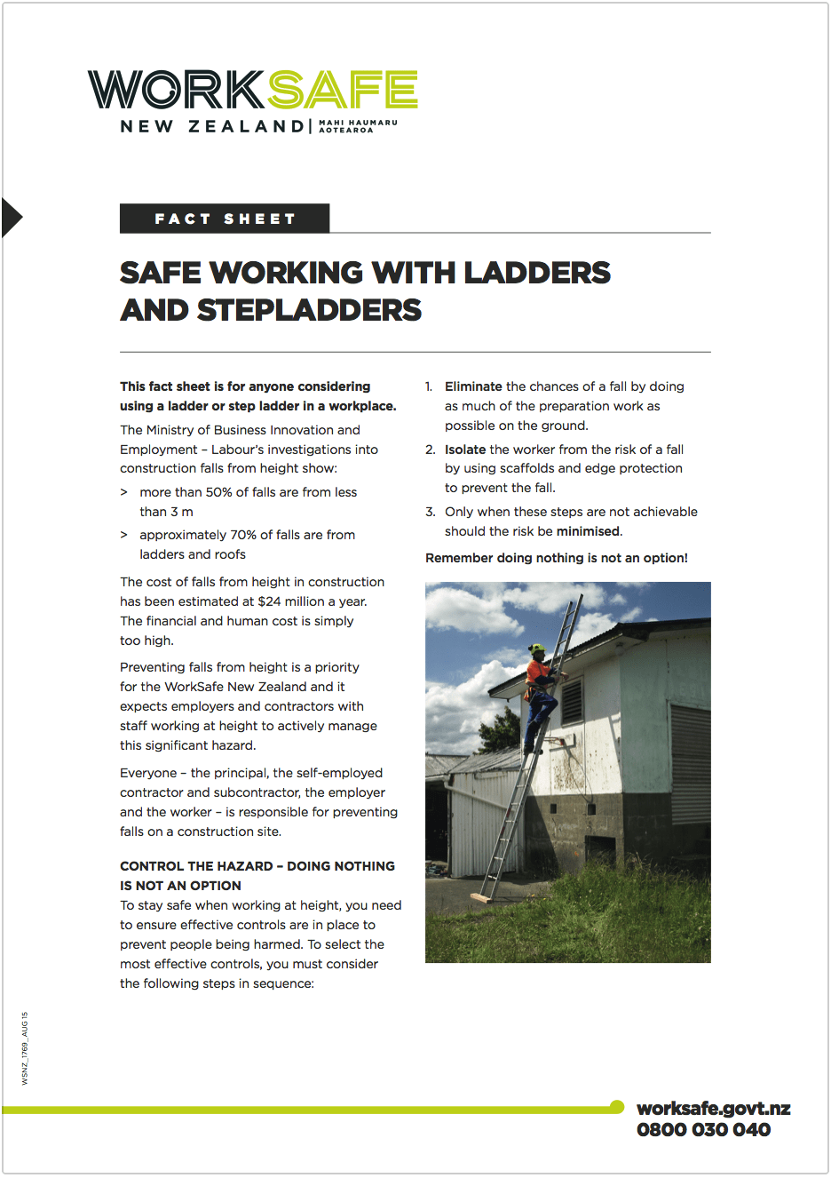 Safe Working with Ladders Factsheet